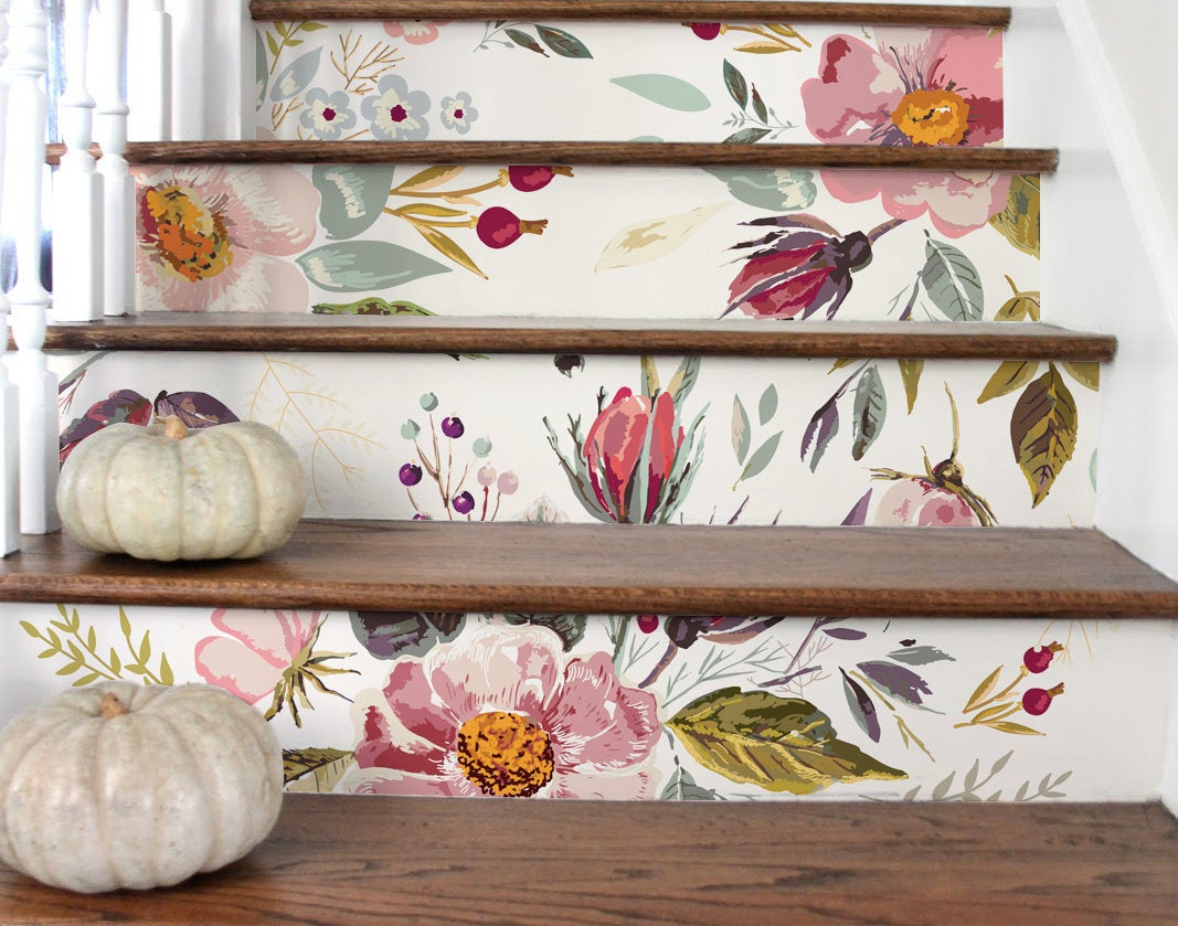 StickersColoray Washed Out Vintage Flowers Stair Stickers