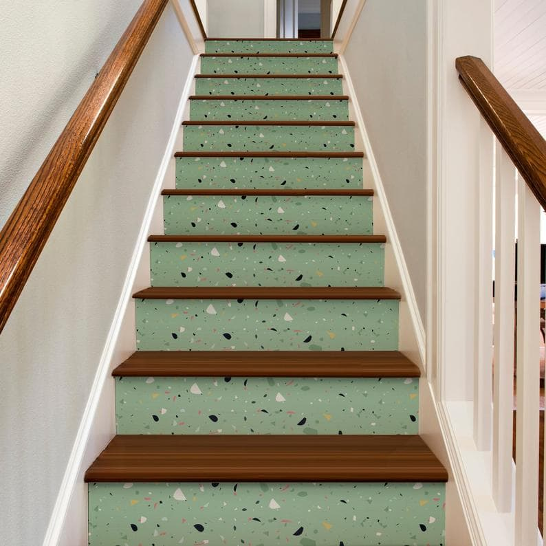 HomeArtStickers Green Terrazzo Pattern Stair Decals