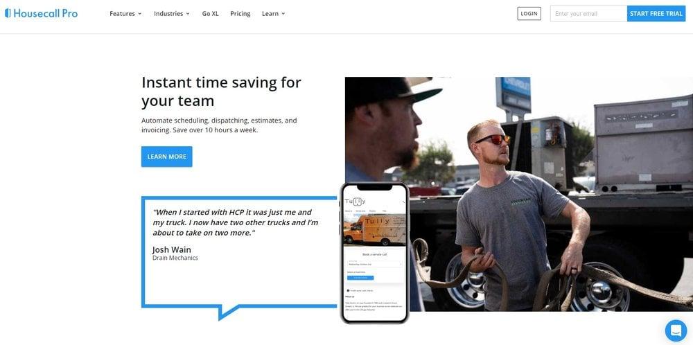 Housecall Pro Homepage Screen