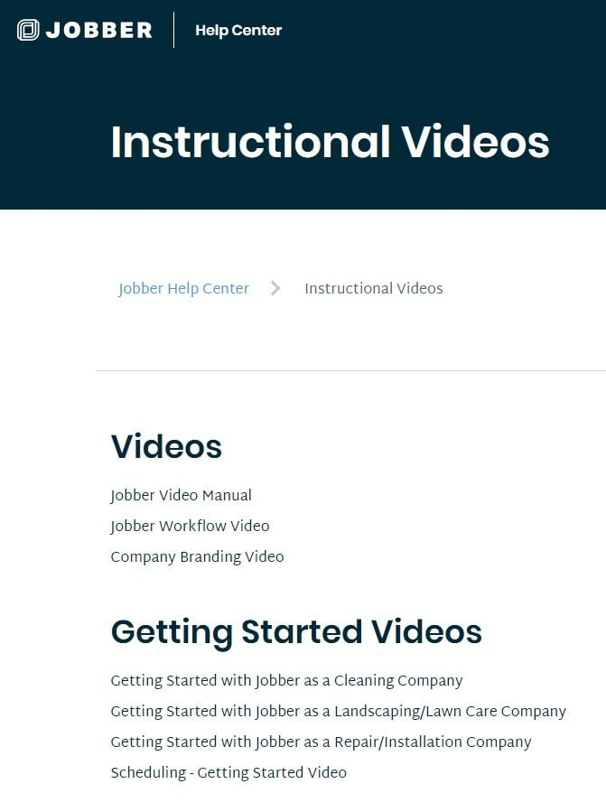 Screenshot of Jobber's Video Tutorials.