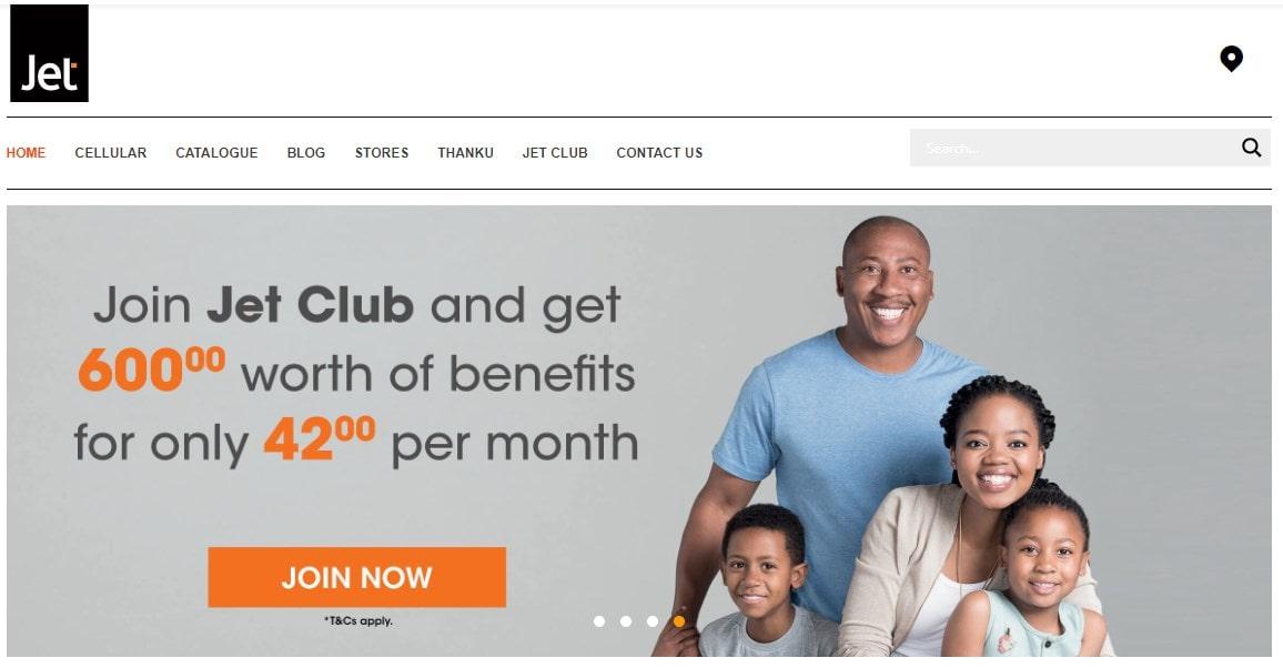 Jet homepage screenshot