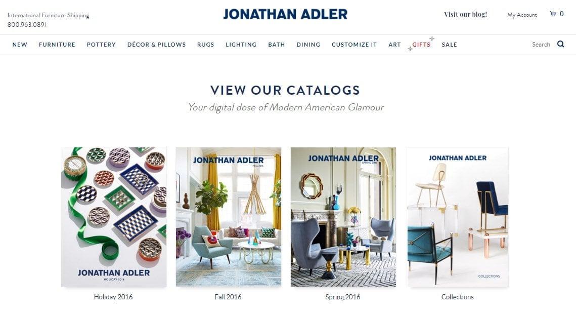 Screenshot of Jonathan Adler catalogs on the company's website.