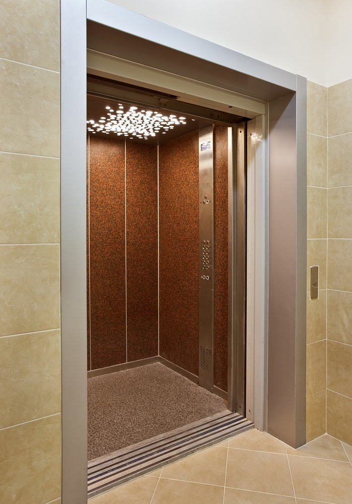 An elevator with an open door.