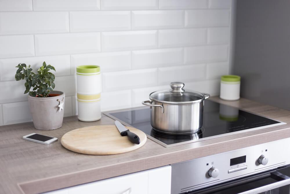 Modern kitchen cooking counter.