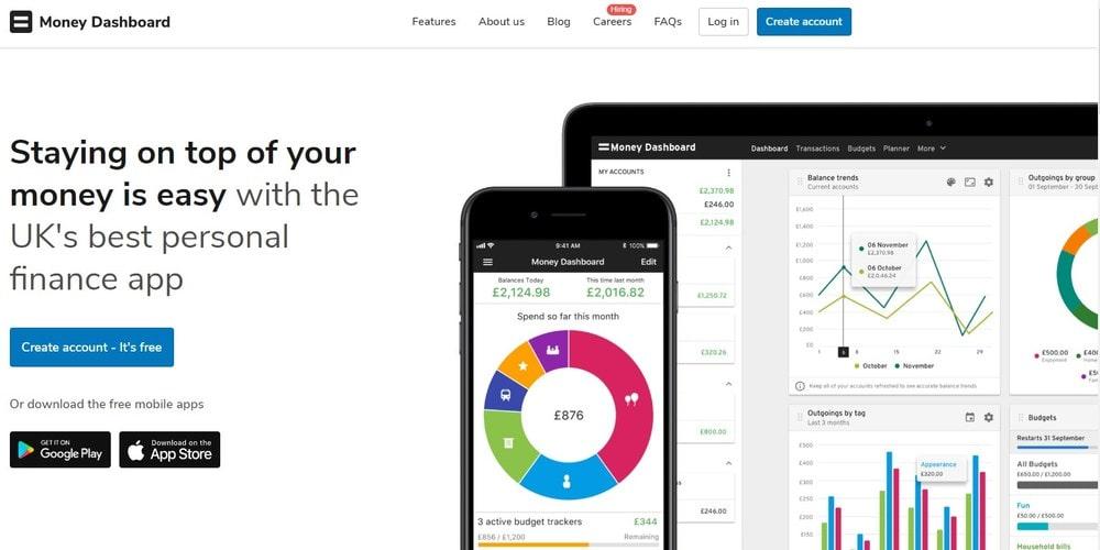Homepage screenshot of the software Money Dashboard.