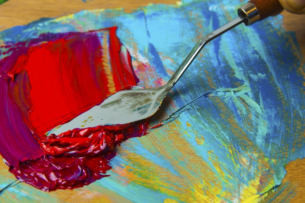 Palette knife on a canvas painting.