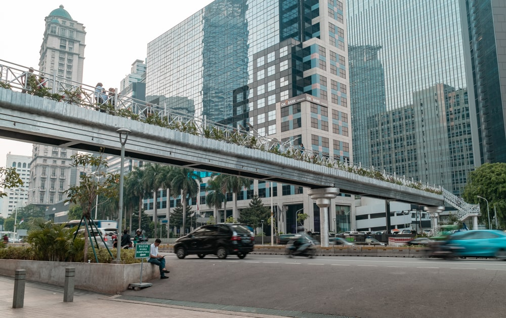 Pedestrian bridge on Jalan Sudirman, Jakarta, Indonesia.