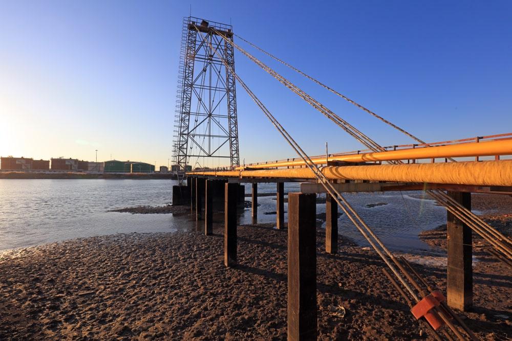 Oil pipes on a bridge.