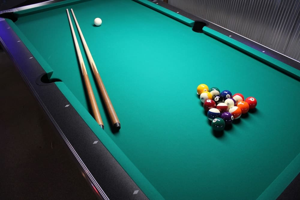 Top view of a pool table.