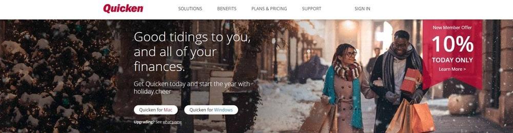 Homepage screenshot of the software Quicken.