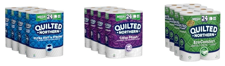 Sample products of Quilted Northern toilet papers.