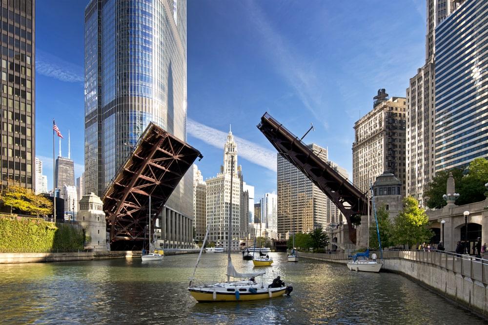 Raising of bridges over Lake Michigan.