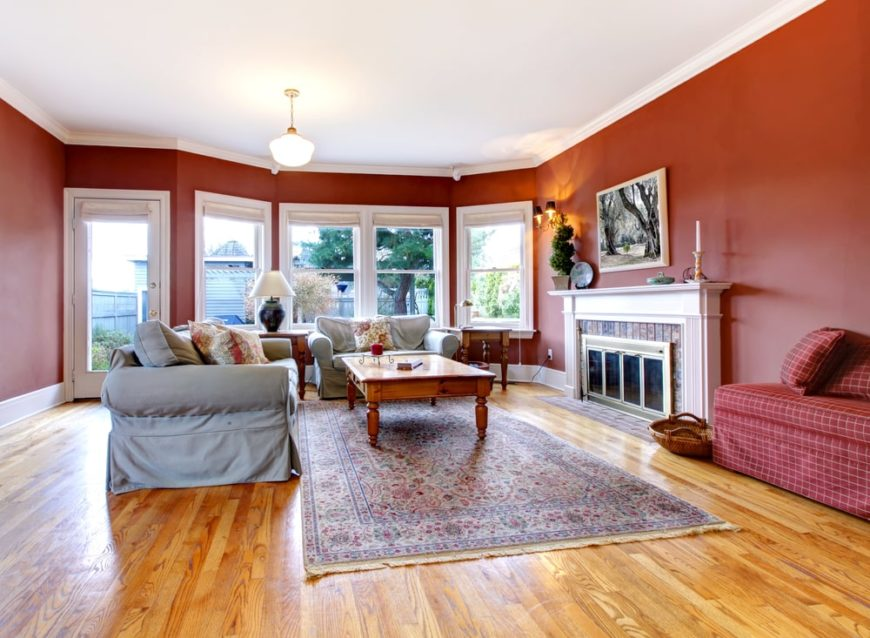 Living room with red walls.