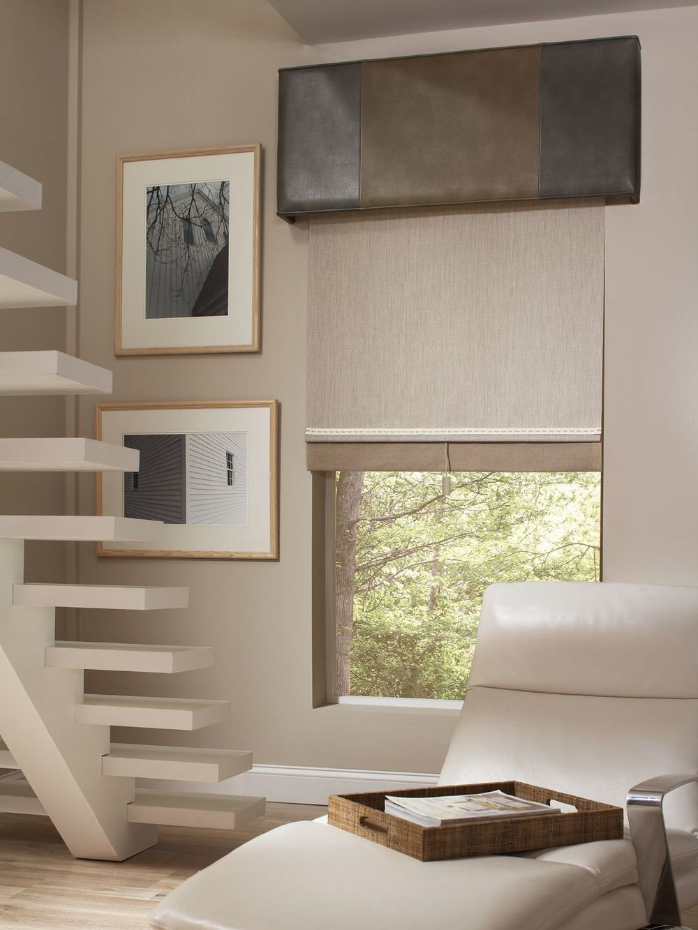 Roller Shades on a landing