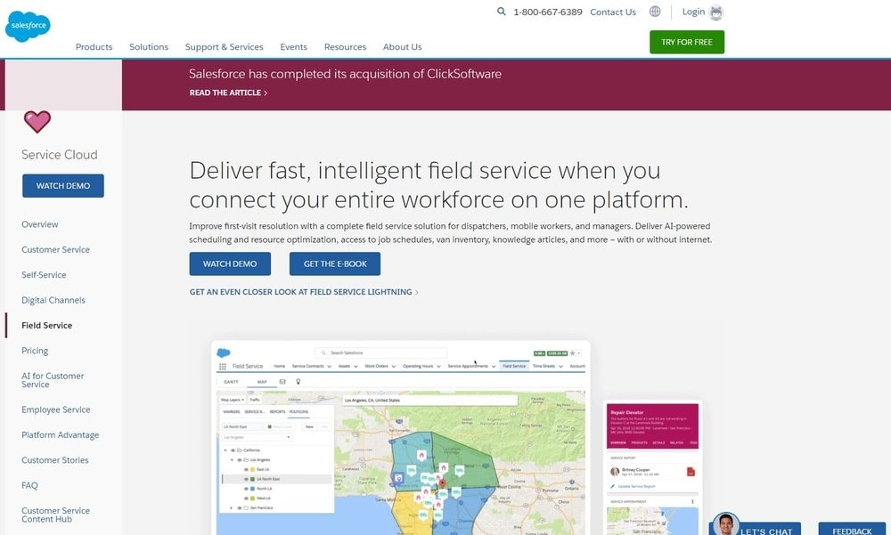 Screenshot of site homepage for the software Service Cloud Field Service.