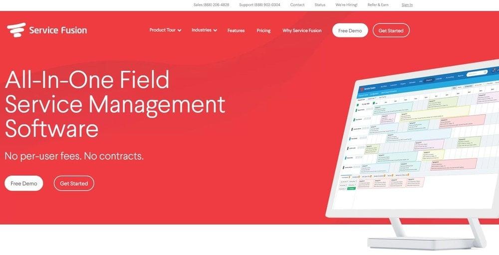 Service Fusion homepage screenshot