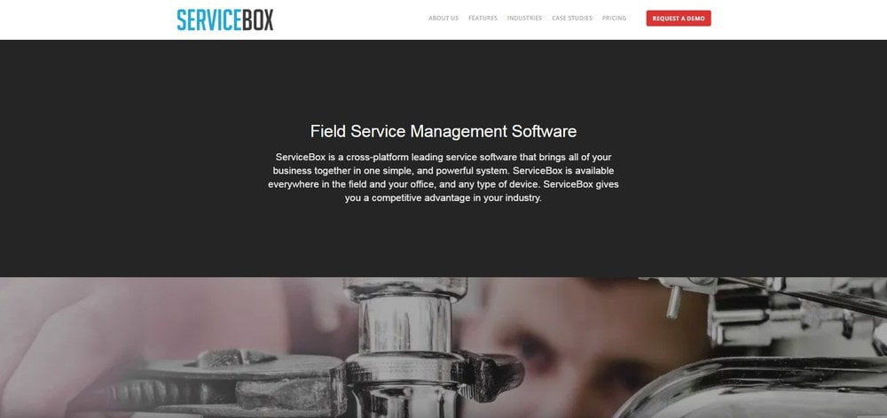 Screenshot of the homepage for ServiceBox.