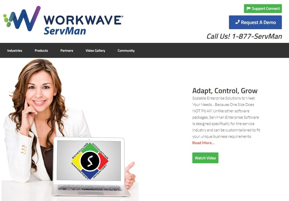 Screenshot of site homepage for the software ServMan.