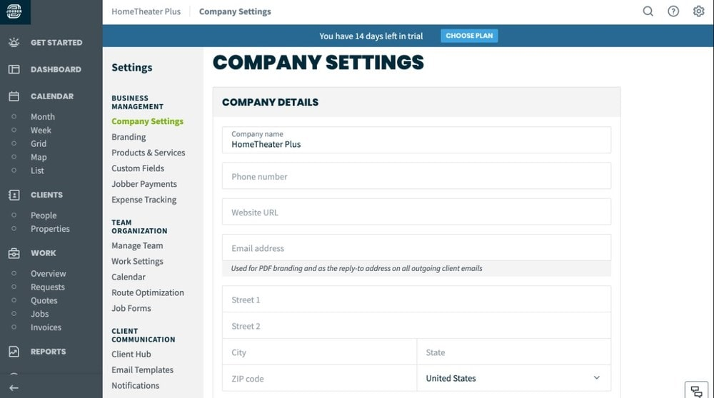 Screenshot of Jobber's Settings page.