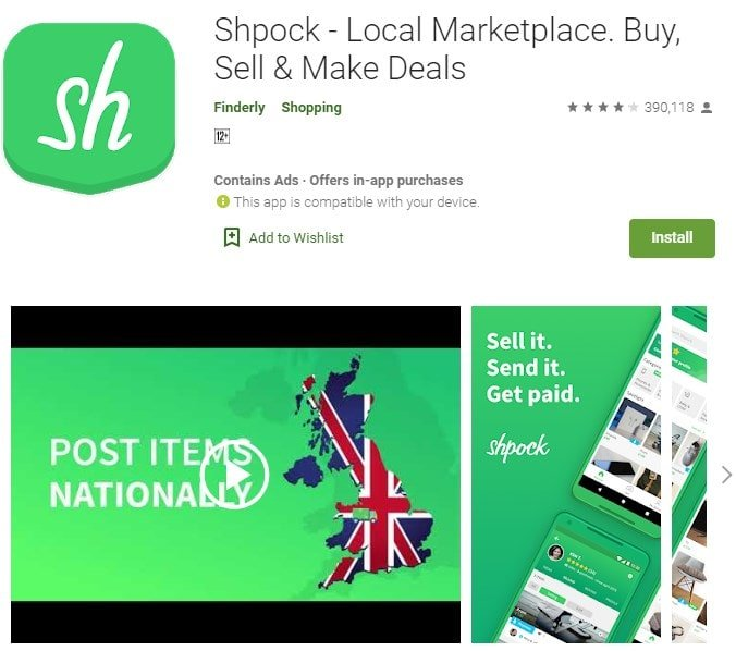 Screenshot of Shpock on Google Play