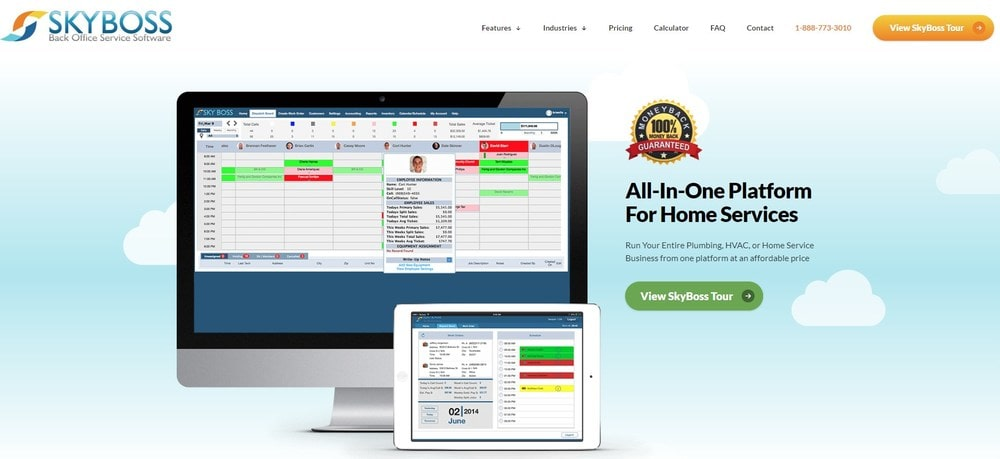 Screenshot of site homepage for the software SkyBoss.