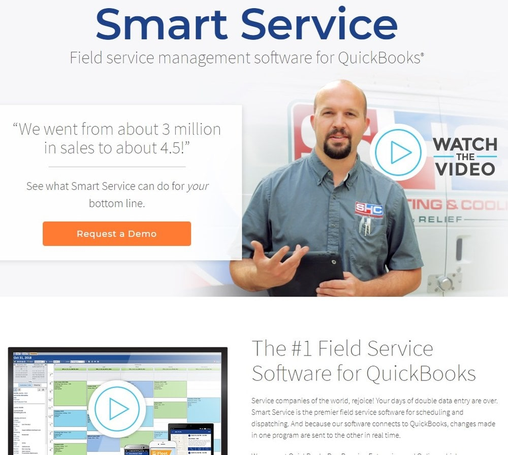 Screenshot of site homepage for the software Smart Service.