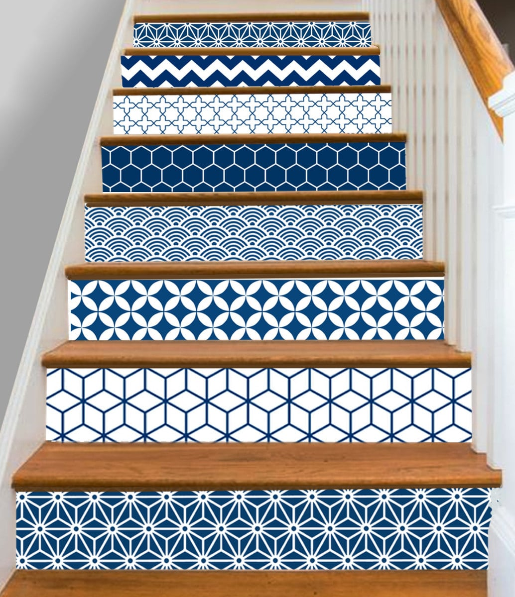 SnazzyDecal Geometrical Blue S002 Vinyl Strips