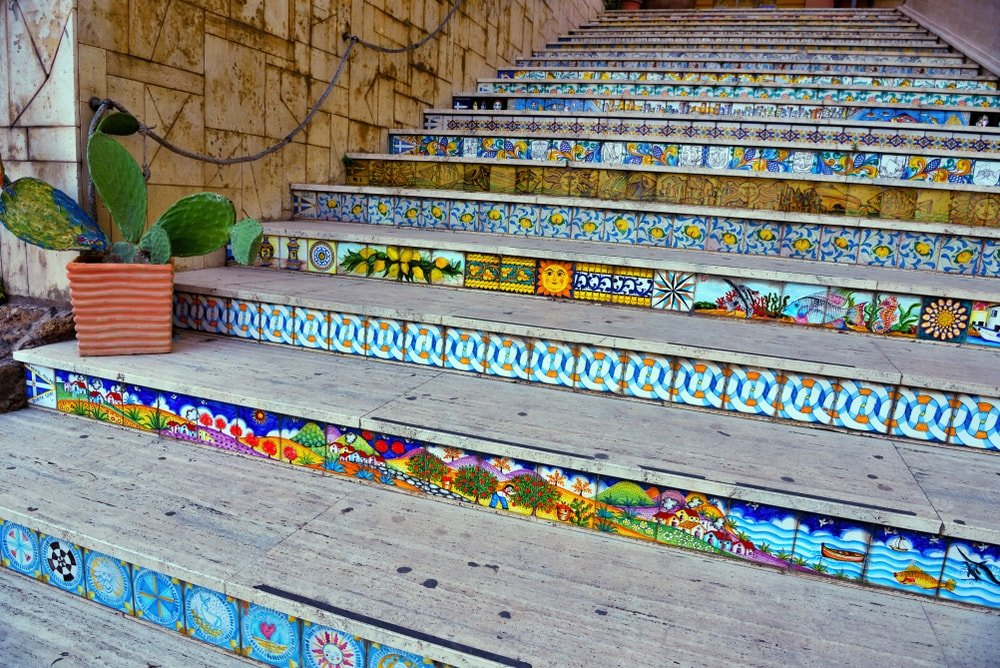 Staircase with colorful risers.