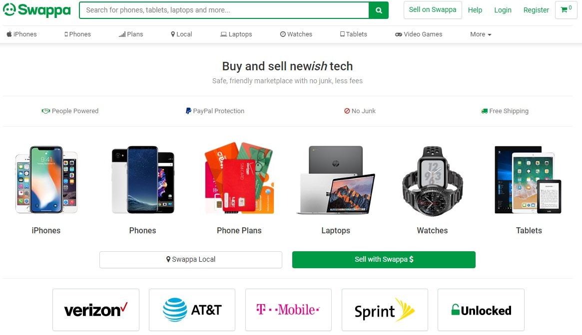 Swappa homepage screenshot
