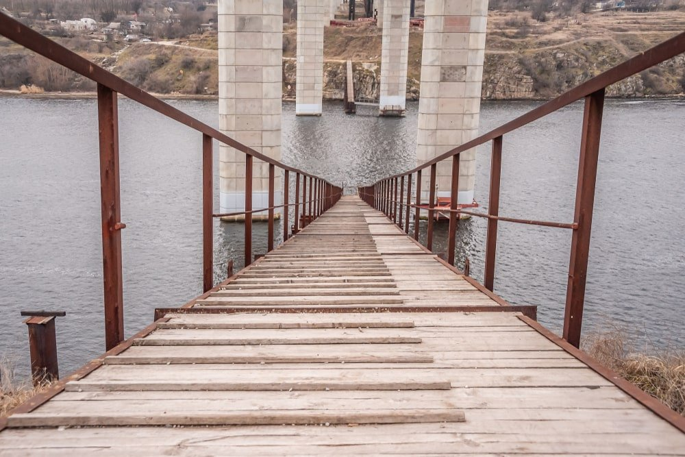 Temporary bridge for bridge construction.