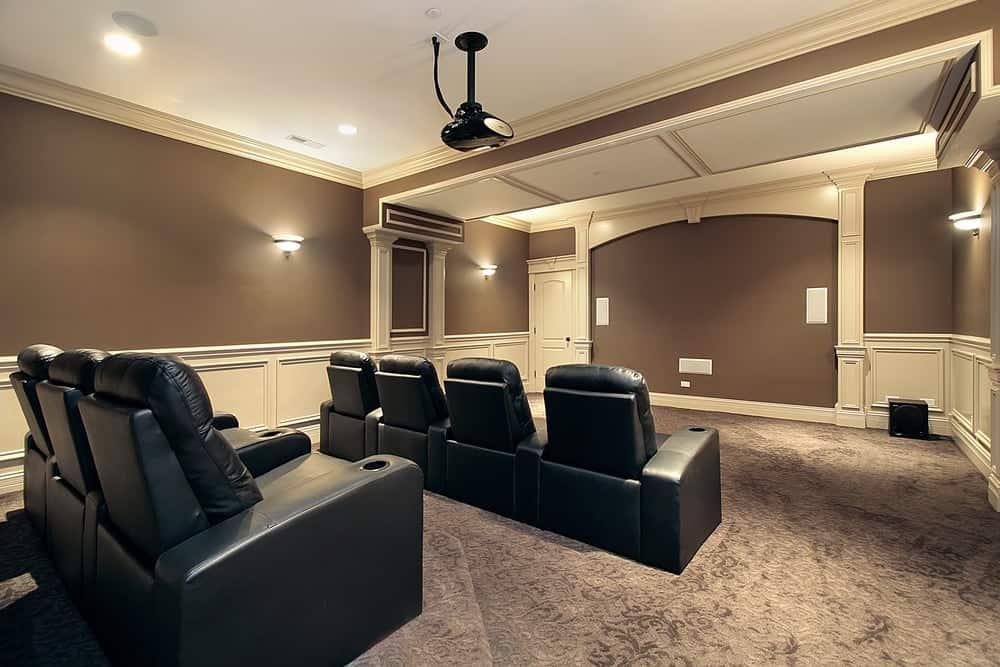 Home cinema with theater stadium seating.
