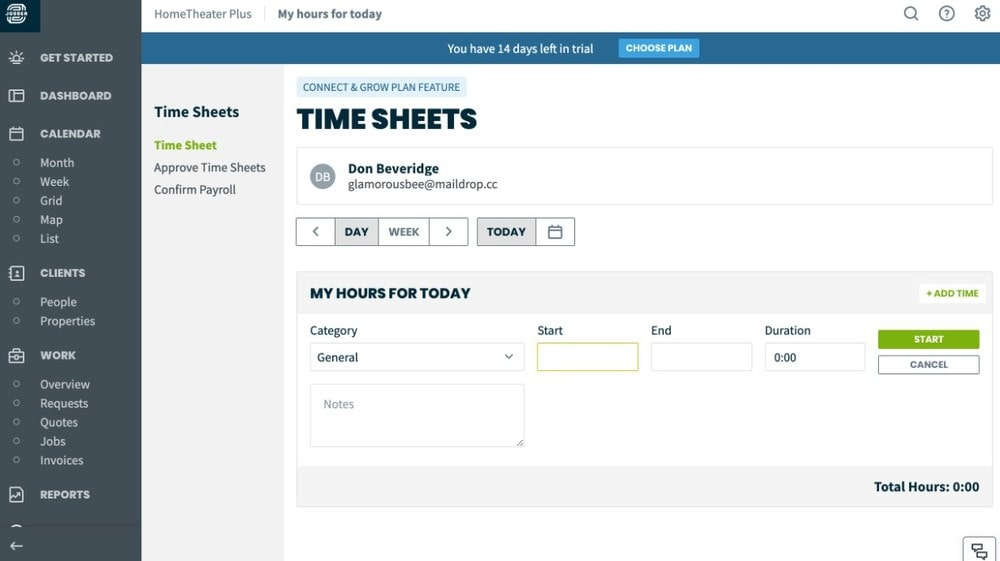 Screenshot of Jobber's Time Sheets page.