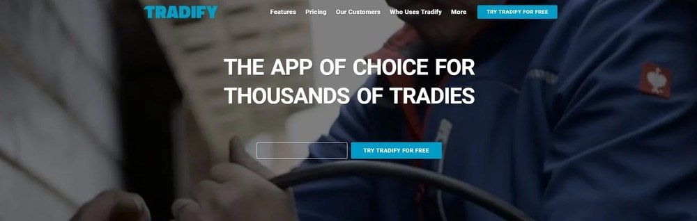 Screenshot of the homepage for Tradify.