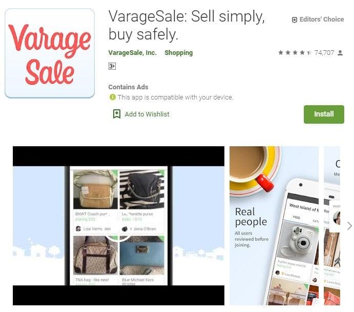 Screenshot of Varage Sale on Google Play