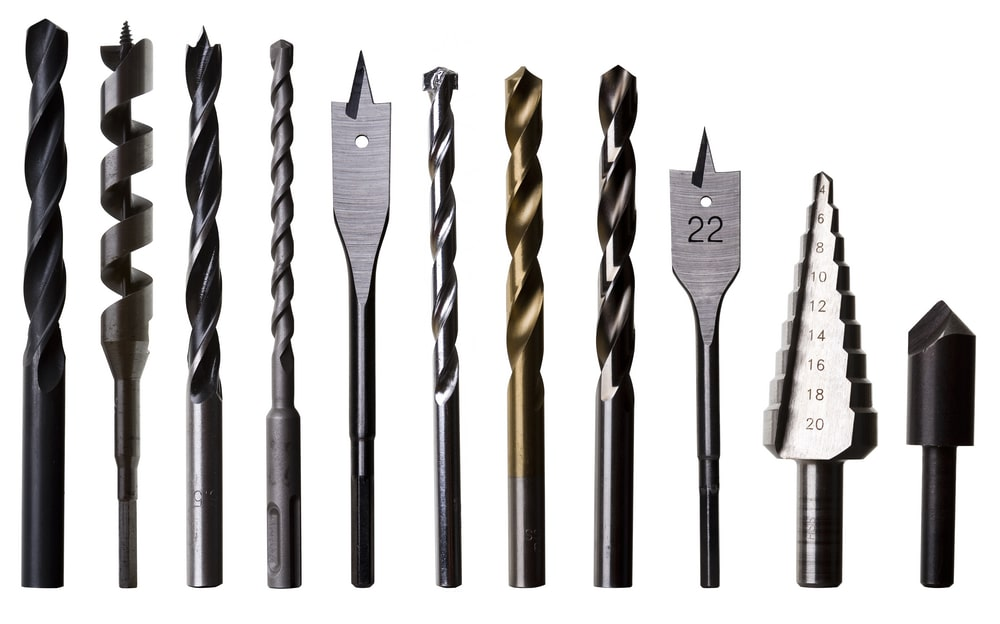 Different types of drill bits.