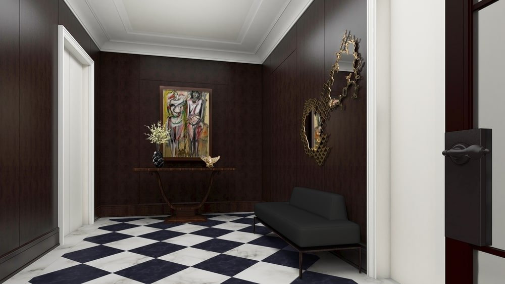 This is a look at the foyer with black and white checkered flooring that stands out against the dark wooden walls.