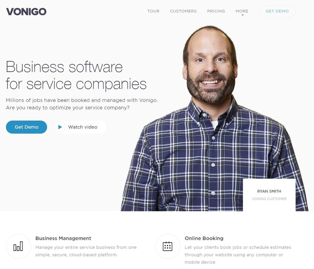 Screenshot of site homepage for the software Vonigo.