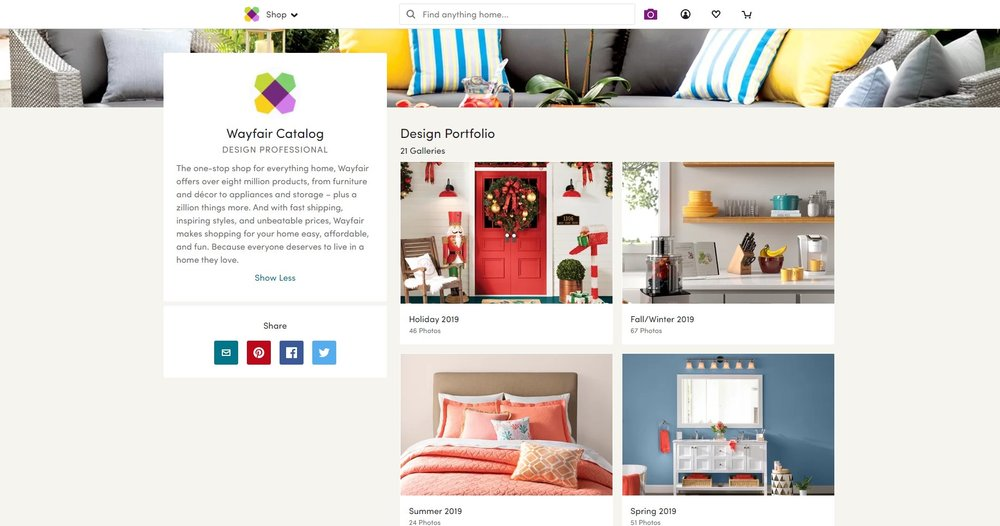 Screenshot of Wayfair catalog from its website.