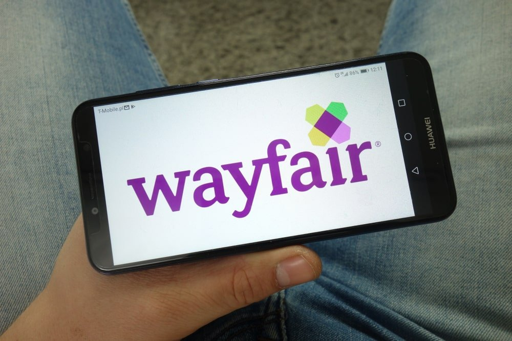 Wayfair displayed on a smartphone screen.