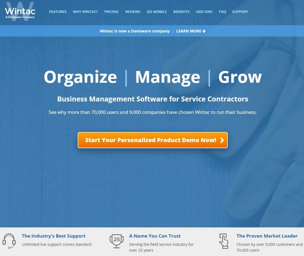 Screenshot of site homepage for the software Wintac.