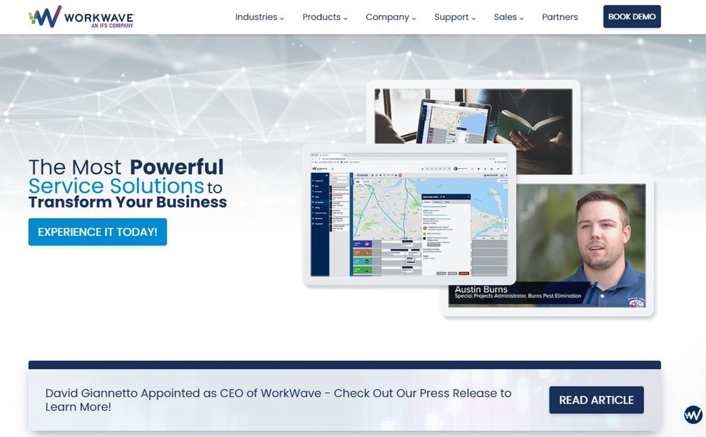 Screenshot of the homepage for WorkWave Service®