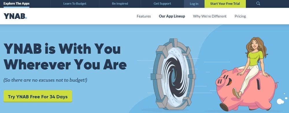 Homepage screenshot of the software YNAB.