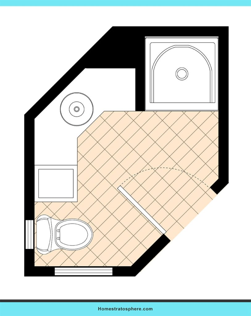 Corner hexagon bathroom layout ideas.