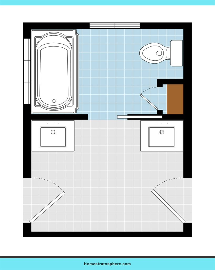 Shared bathroom design layout ideas.