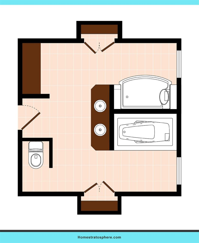 Dual walk-in closets bathroom layout ideas.