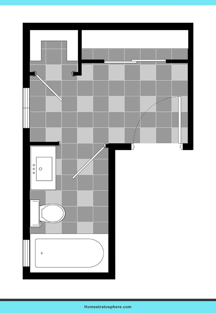 L-shaped plan bathroom layout ideas.