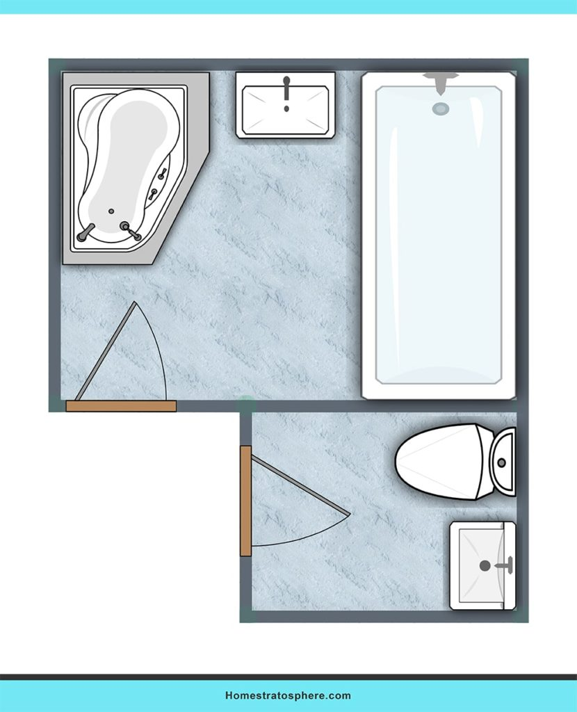 Dual entryway bathroom design ideas.