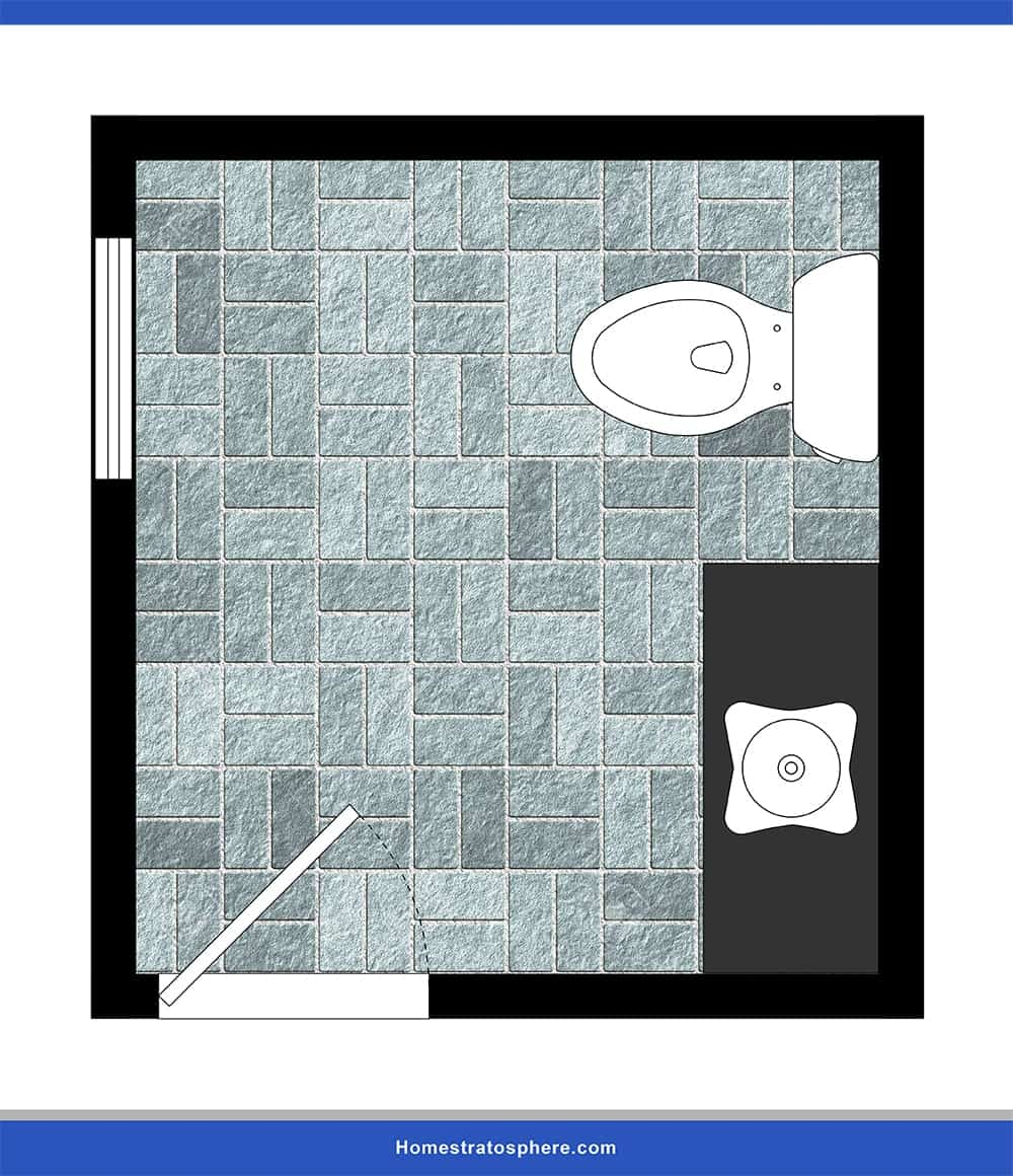 A simple single-person occupancy powder room lay-out.