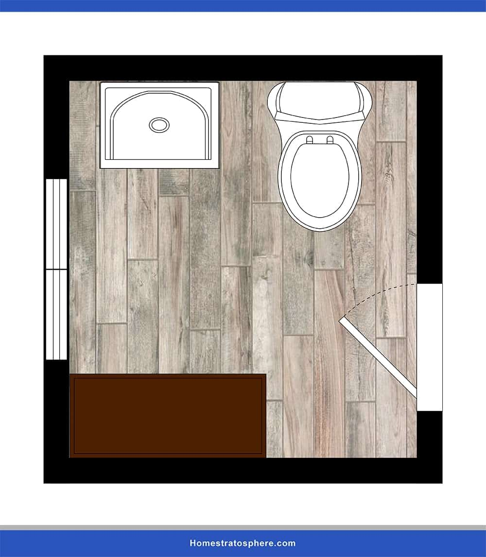 This is the ideal powder room lay-out for families with small children.
