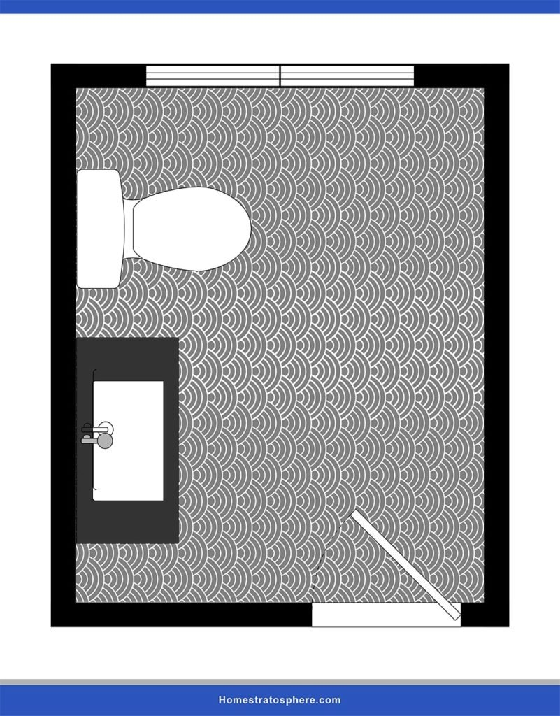 This is a powder room lay-out with a safety-first design.